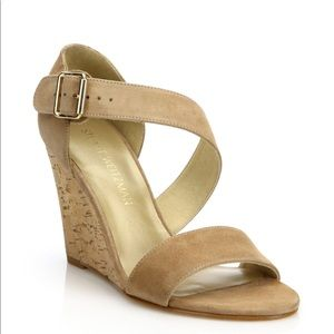 Stuart Weitzman Lineone Suede Cork Wedge Sandals